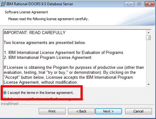DOORs Server License Acceptance Page  sc 1 st  CurWang Tech & Installing the DOORS Database Server